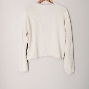Vintage Sweaters - Handmade Cotton/Ramie Granny Sweater Ivory
